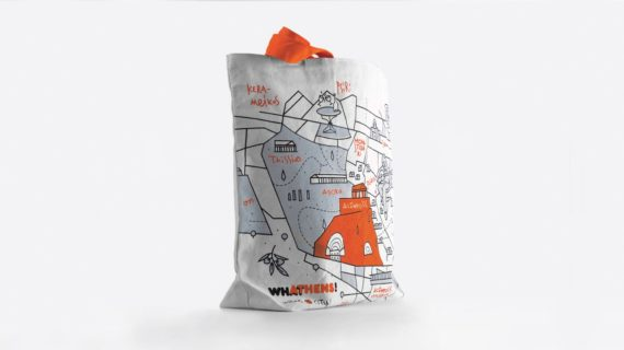 A white bag with an orange illustration of the map of Athens, in a white background